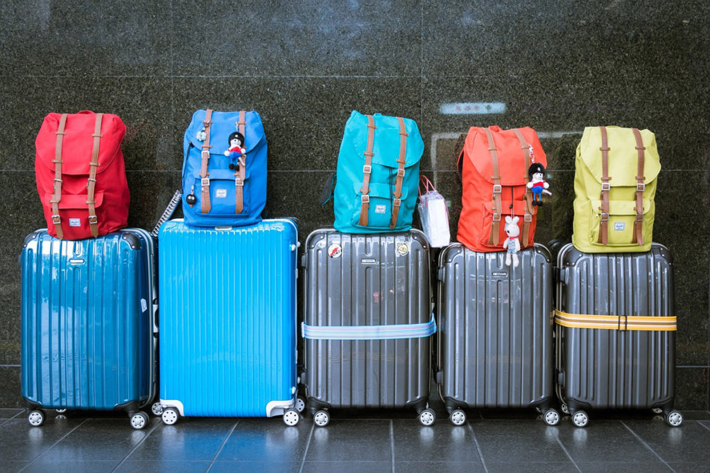 luggage in a row
