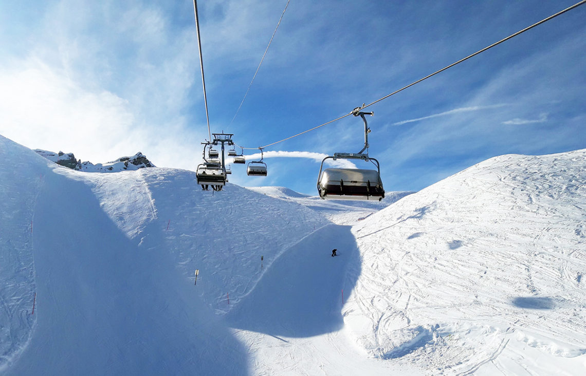 Swiss alps chair lift