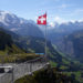 Swiss Alps with flag